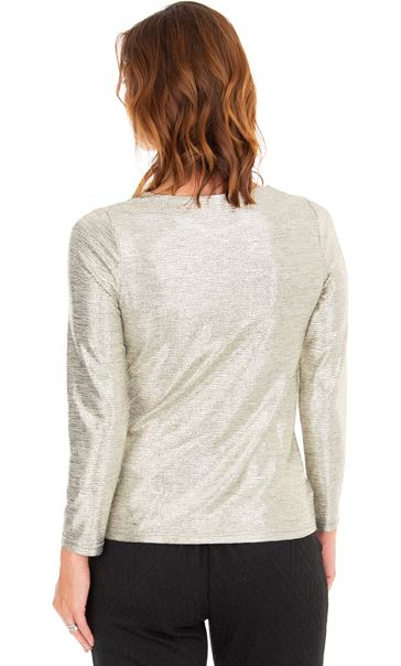 Metallic Side Knot Long Sleeve Top Gold - Gallery Image 2