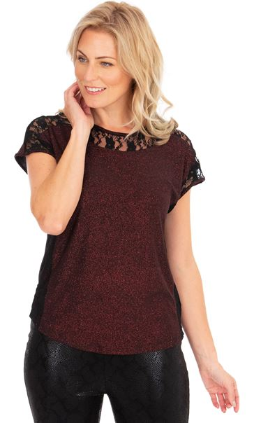 Lace Trim Short Sleeve Glitter Top Black/Red