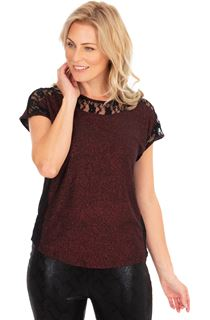 Lace Trim Short Sleeve Glitter Top