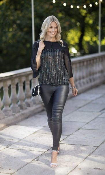 Embellished Wide Sleeve Chiffon Top Black