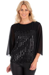 Embellished Wide Sleeve Chiffon Top