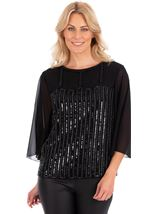 Embellished Wide Sleeve Chiffon Top Black - Gallery Image 2