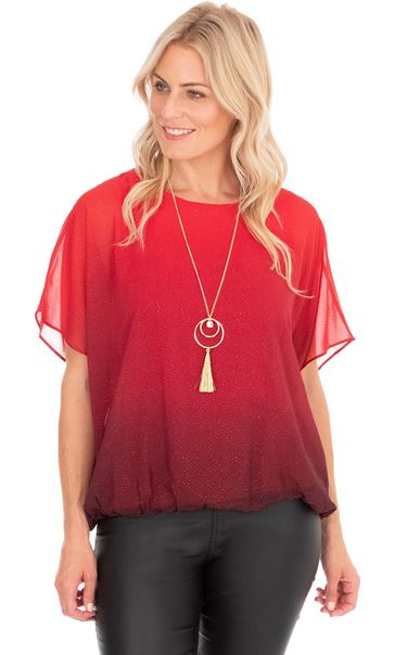 Ombre Glitter Chiffon Top With Necklace True Red