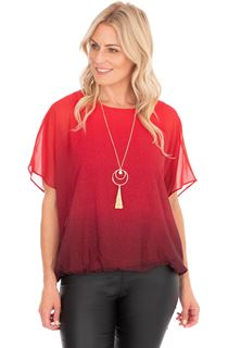 Ombre Glitter Chiffon Top With Necklace