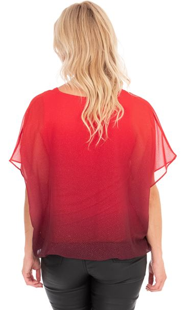 Ombre Glitter Chiffon Top With Necklace Red - Gallery Image 2