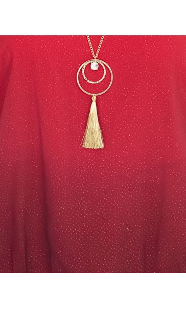 Ombre Glitter Chiffon Top With Necklace Red - Gallery Image 3