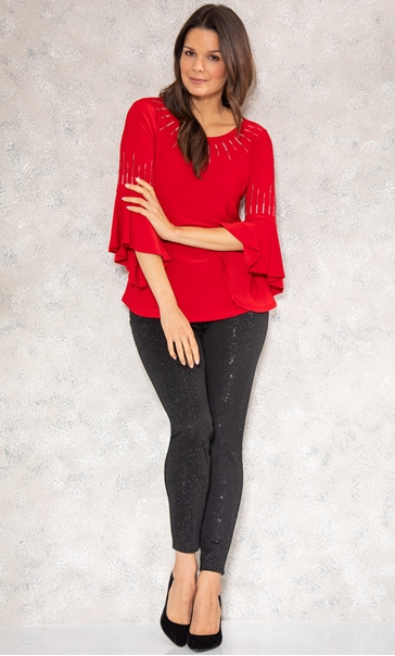 Embellished Cowl Back Stretch Top Red