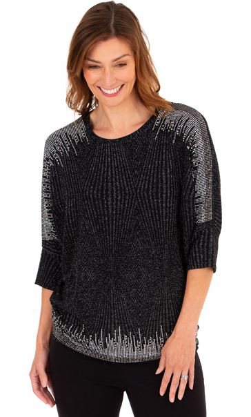 Embellished Batwing Top Black