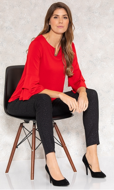 Bell Sleeve Stretch Top True Red