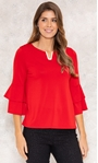 Bell Sleeve Stretch Top True Red - Gallery Image 2