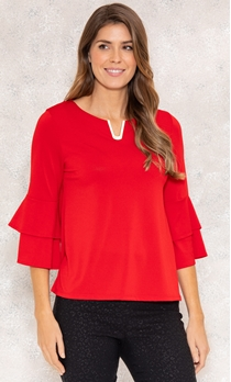 Bell Sleeve Stretch Top - True Red