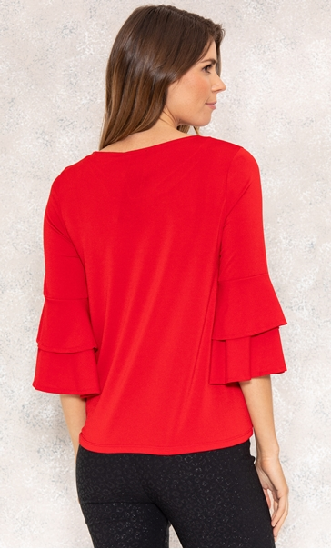 Bell Sleeve Stretch Top True Red - Gallery Image 3