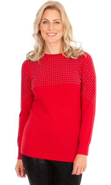 Embellished Long Sleeve Knit Top Red