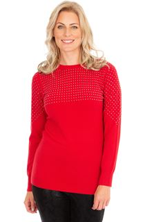 Embellished Long Sleeve Knit Top - Red