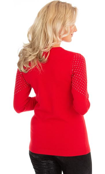 Embellished Long Sleeve Knit Top Red - Gallery Image 2