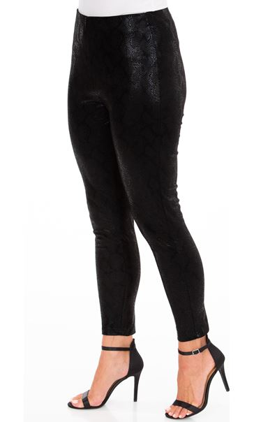 Full Length Faux Suede Snake Print Leggings