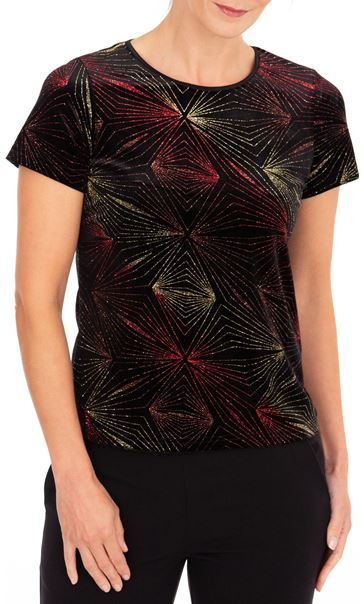 Anna Rose Glitter Velour Top - Multi