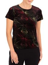 Anna Rose Glitter Velour Top Red/Gold/Black - Gallery Image 1