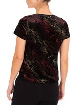 Anna Rose Glitter Velour Top Red/Gold/Black - Gallery Image 2