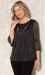 Anna Rose Glitter Mesh Top With Necklace Black/Silver - Gallery Image 1