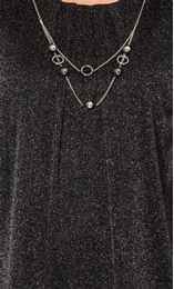 Anna Rose Glitter Mesh Top With Necklace Black/Silver - Gallery Image 3
