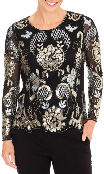Anna Rose Embellished Long Sleeve Mesh Top Black/Gold - Gallery Image 1