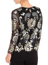 Anna Rose Embellished Long Sleeve Mesh Top Black/Gold - Gallery Image 2