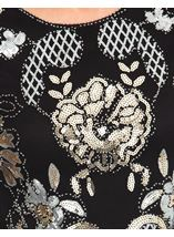 Anna Rose Embellished Long Sleeve Mesh Top Black/Gold - Gallery Image 3