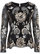 Anna Rose Embellished Long Sleeve Mesh Top Black/Gold - Gallery Image 4