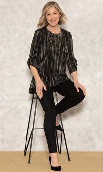 Anna Rose Pleated Top With Necklace