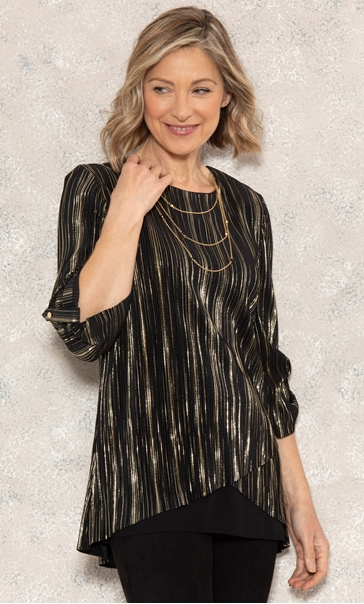 Anna Rose Pleated Top With Necklace Black/Gold - Gallery Image 2