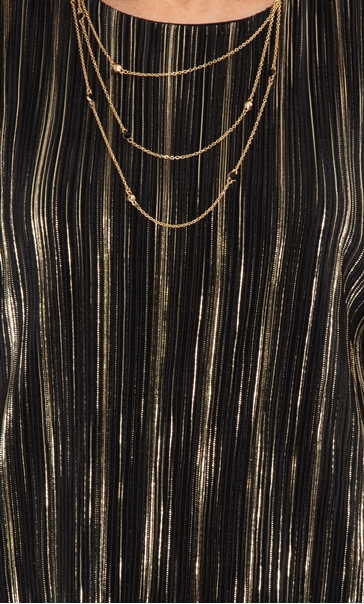 Anna Rose Pleated Top With Necklace Black/Gold - Gallery Image 4