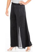 Anna Rose Shimmer Mesh Layered Wide Leg Trousers Black/Silver - Gallery Image 1