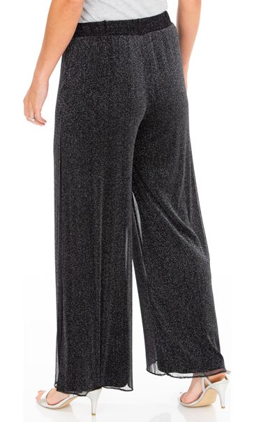 Anna Rose Shimmer Mesh Layered Wide Leg Trousers Black/Silver - Gallery Image 3