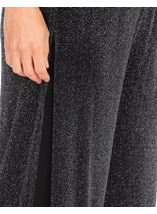 Anna Rose Shimmer Mesh Layered Wide Leg Trousers Black/Silver - Gallery Image 4