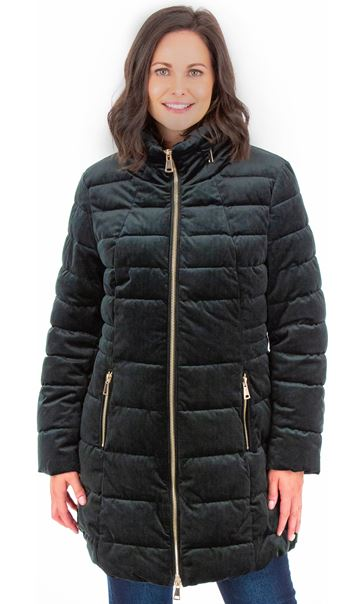 Zip Puffa Coat Green