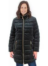 Zip Puffa Coat Green - Gallery Image 1