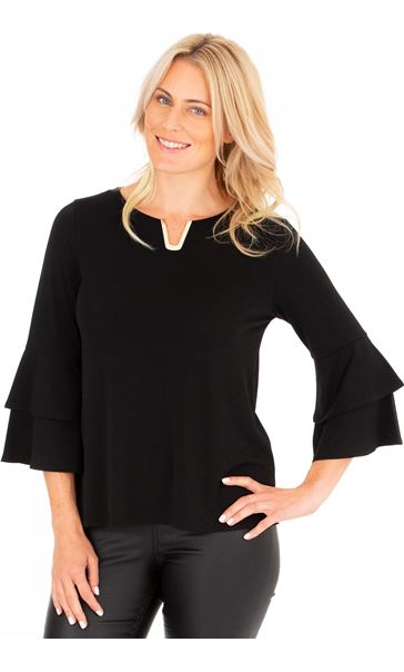 Bell Sleeve Stretch Top Black