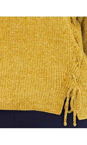 Long Sleeve Lurex Chenille Knit Top Lime - Gallery Image 3