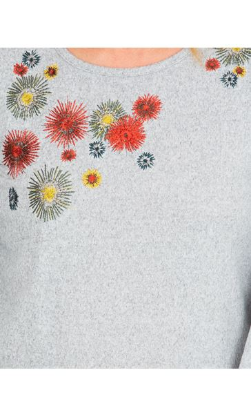 Embroidered Long Sleeve Top Grey Marl - Gallery Image 3
