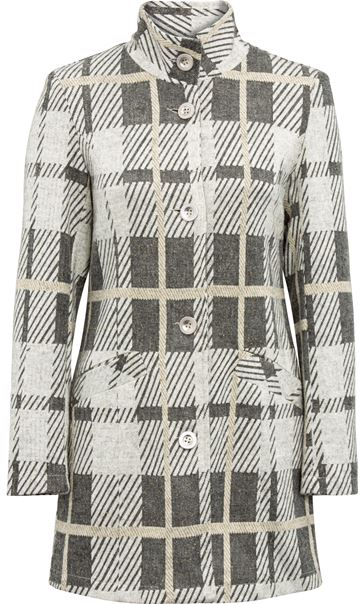 Anna Rose Check Button Coat Grey/Gold - Gallery Image 3
