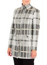Anna Rose Check Button Coat Grey/Gold - Gallery Image 1