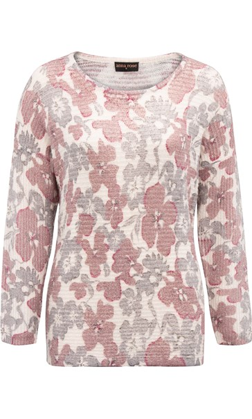 Anna Rose Floral Shimmer Knit Top Grey/Dusty Pink