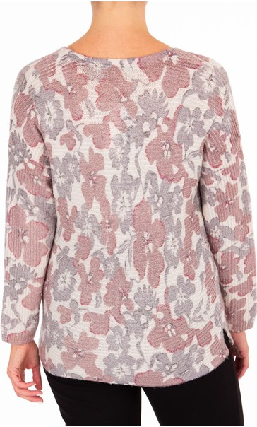 Anna Rose Floral Shimmer Knit Top Grey/Dusty Pink - Gallery Image 3