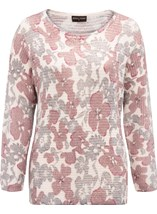 Anna Rose Floral Shimmer Knit Top Grey/Dusty Pink - Gallery Image 1