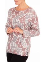 Anna Rose Floral Shimmer Knit Top Grey/Dusty Pink - Gallery Image 2