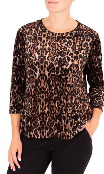 Anna Rose Animal Print Velour Top