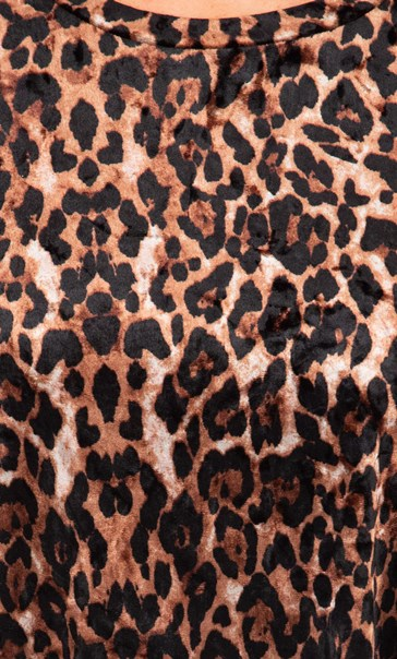 Anna Rose Animal Print Velour Top Brown/Black - Gallery Image 3
