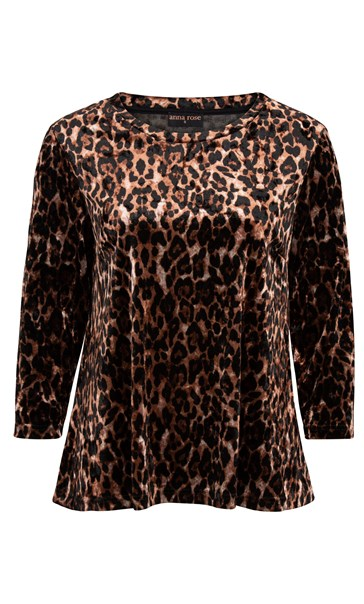 Anna Rose Animal Print Velour Top Brown/Black - Gallery Image 4