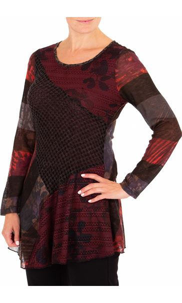 Anna Rose Long Sleeve Knitted Tunic Merlot/Black/Multi - Gallery Image 1